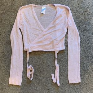 Danskin Pink Ballet Cropped Wrap Sweater